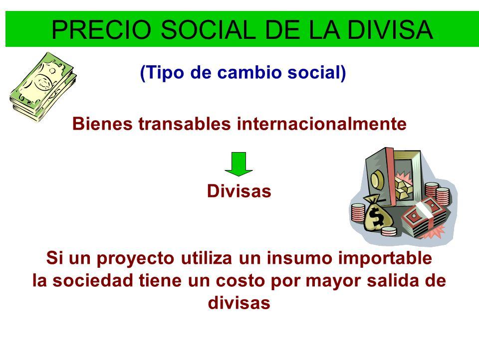 PRECIO SOCIAL DE LA DIVISA (Tipo de cambio social) Bienes transables internacionalmente Divisas Si un proyecto utiliza un insumo importable la socieda
