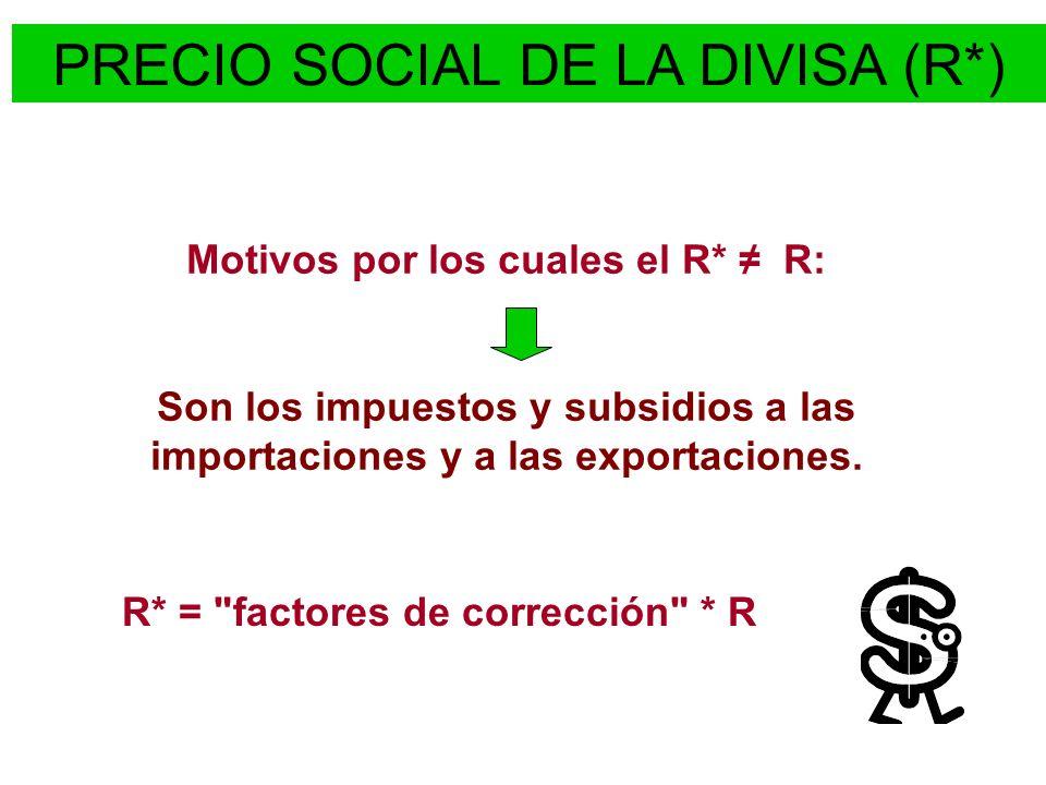 Motivos por los cuales el R* R: Son los impuestos y subsidios a las importaciones y a las exportaciones. PRECIO SOCIAL DE LA DIVISA (R*) R* =