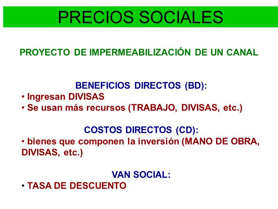 PROYECTO DE IMPERMEABILIZACIÓN DE UN CANAL BENEFICIOS DIRECTOS (BD): Ingresan DIVISAS Se usan más recursos (TRABAJO, DIVISAS, etc.) COSTOS DIRECTOS (C