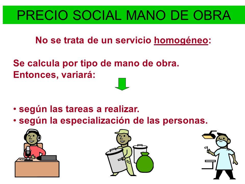 PRECIO SOCIAL MANO DE OBRA No se trata de un servicio homogéneo: Se calcula por tipo de mano de obra. Entonces, variará: según las tareas a realizar.