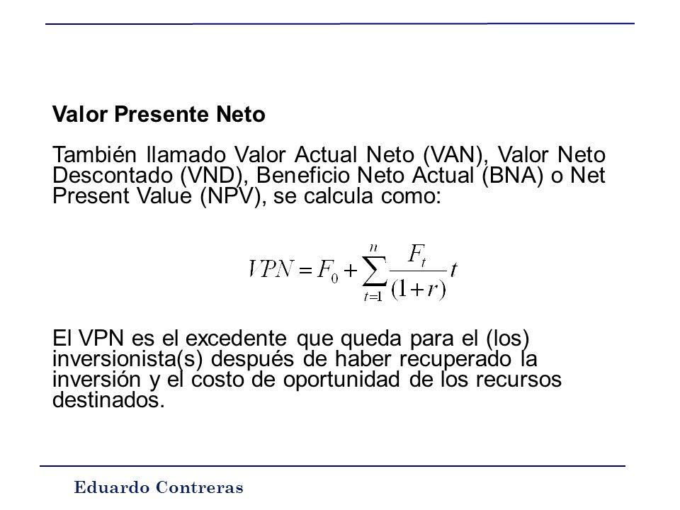 Eduardo Contreras Actualizar y capitalizar: Supongamos un flujo de dinero en un periodo futuro t, llamémoslo F t, este flujo puede ser expresado en fo