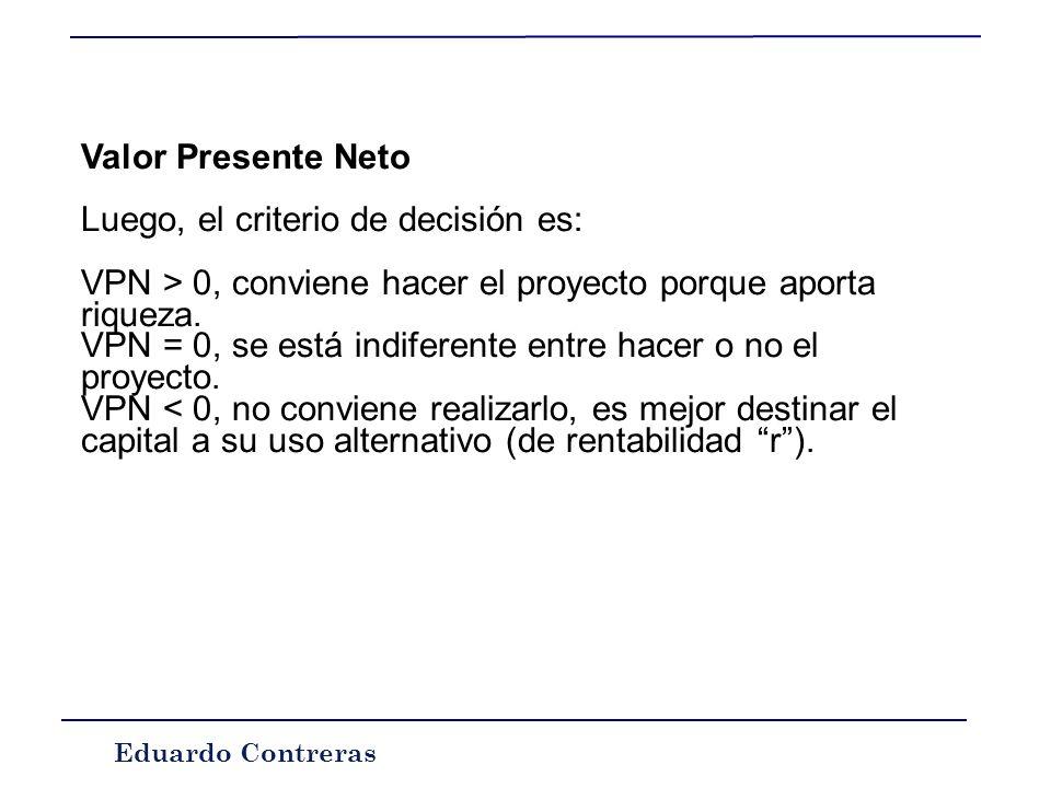Eduardo Contreras Valor Presente Neto También llamado Valor Actual Neto (VAN), Valor Neto Descontado (VND), Beneficio Neto Actual (BNA) o Net Present