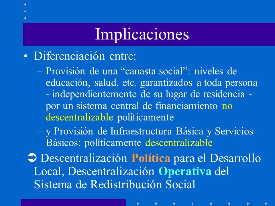 Implicaciones Diferenciación entre: –Provisión de una canasta social: niveles de educación, salud, etc. garantizados a toda persona - independientemen