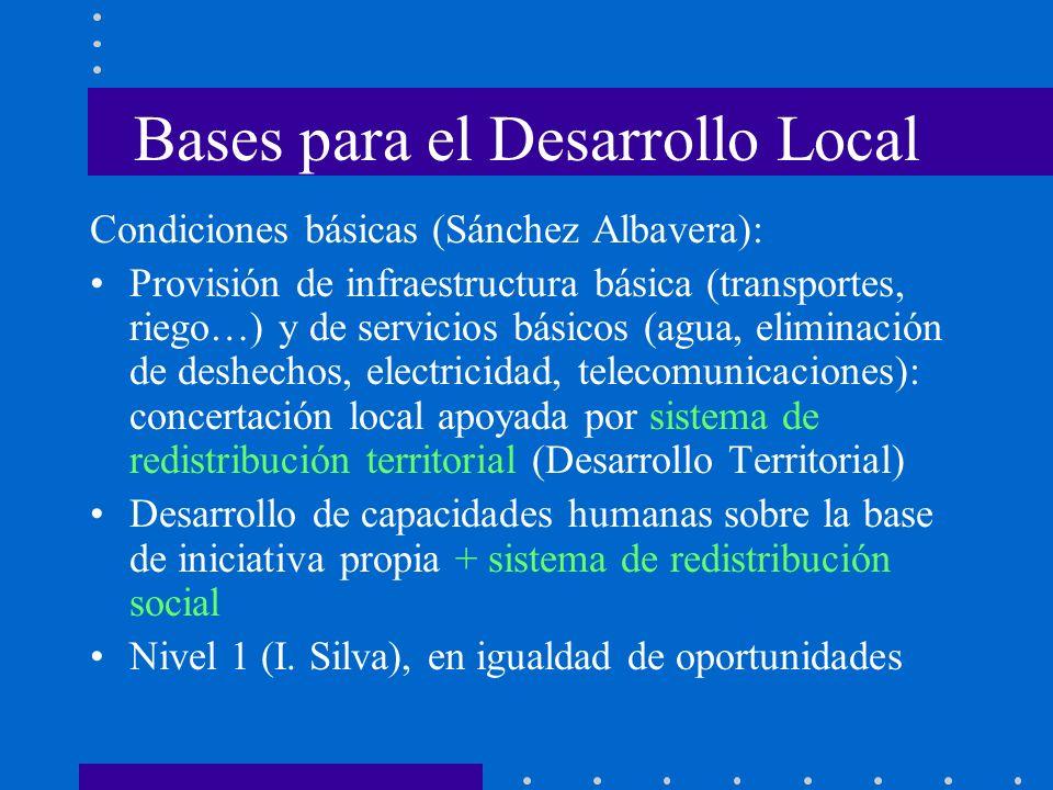 Bases para el Desarrollo Local Condiciones básicas (Sánchez Albavera): Provisión de infraestructura básica (transportes, riego…) y de servicios básico