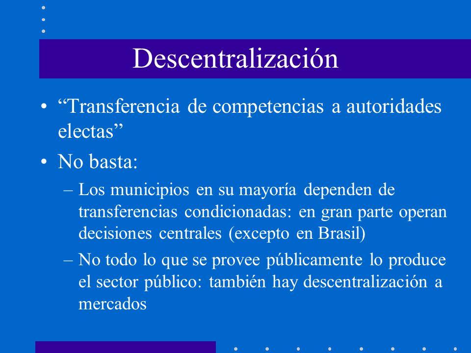 Descentralización Transferencia de competencias a autoridades electas No basta: –Los municipios en su mayoría dependen de transferencias condicionadas