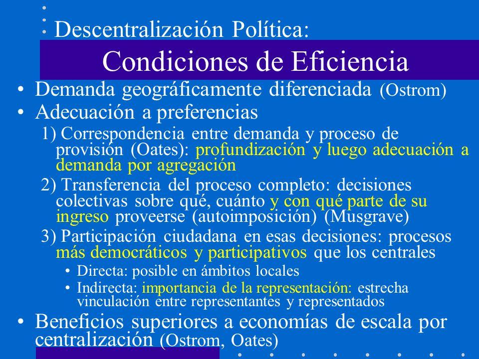 Algunas Condiciones de Eficiencia Profundización de la descentralización política, hasta niveles submunicipales (parroquias) asociativismo y subsidiariedad, con sistema de compensación tipo 1 Participación en asignaciones (medio y fin) –Capacidad de autoimposición (imptos.