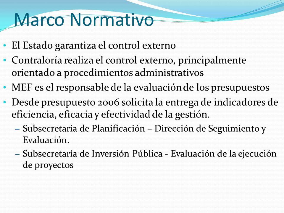 El Estado garantiza el control externo Contraloría realiza el control externo, principalmente orientado a procedimientos administrativos MEF es el responsable de la evaluación de los presupuestos Desde presupuesto 2006 solicita la entrega de indicadores de eficiencia, eficacia y efectividad de la gestión.