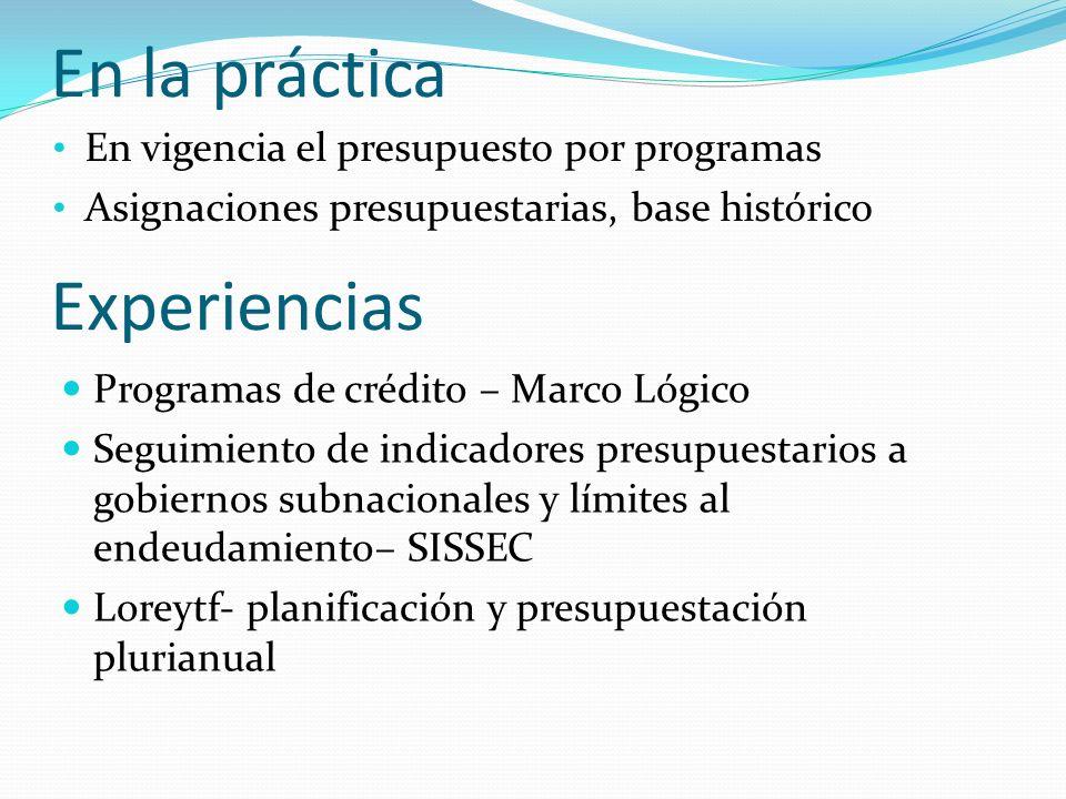 Programas de crédito – Marco Lógico Seguimiento de indicadores presupuestarios a gobiernos subnacionales y límites al endeudamiento– SISSEC Loreytf- planificación y presupuestación plurianual En la práctica Experiencias En vigencia el presupuesto por programas Asignaciones presupuestarias, base histórico