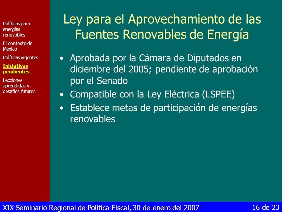 XIX Seminario Regional de Política Fiscal, 30 de enero del 2007 16 de 23 Ley para el Aprovechamiento de las Fuentes Renovables de Energía Aprobada por