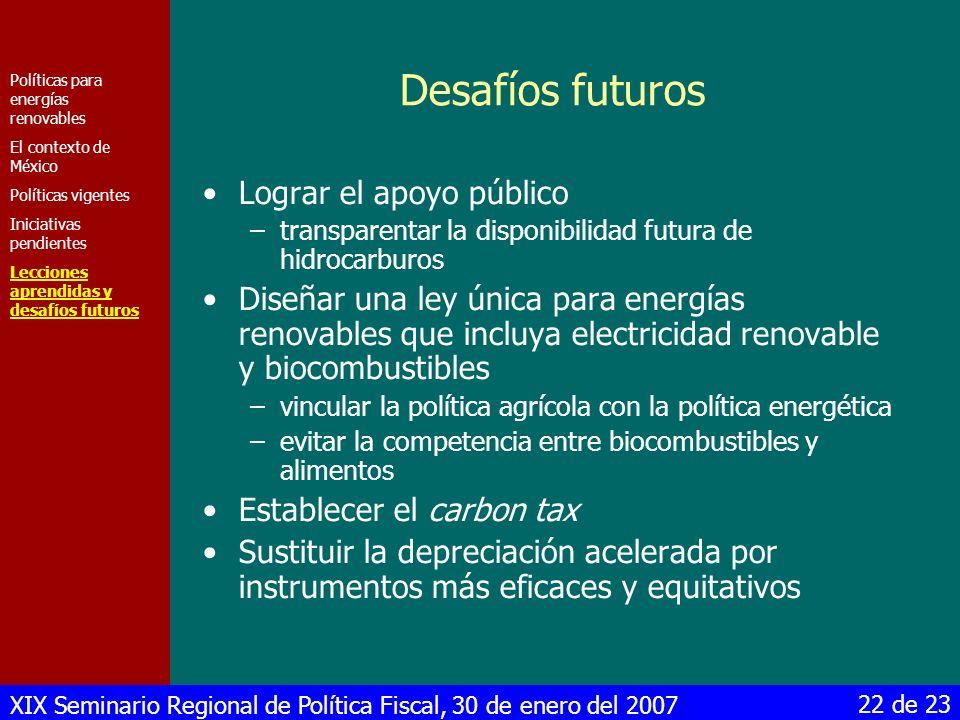 XIX Seminario Regional de Política Fiscal, 30 de enero del 2007 22 de 23 Desafíos futuros Lograr el apoyo público –transparentar la disponibilidad fut