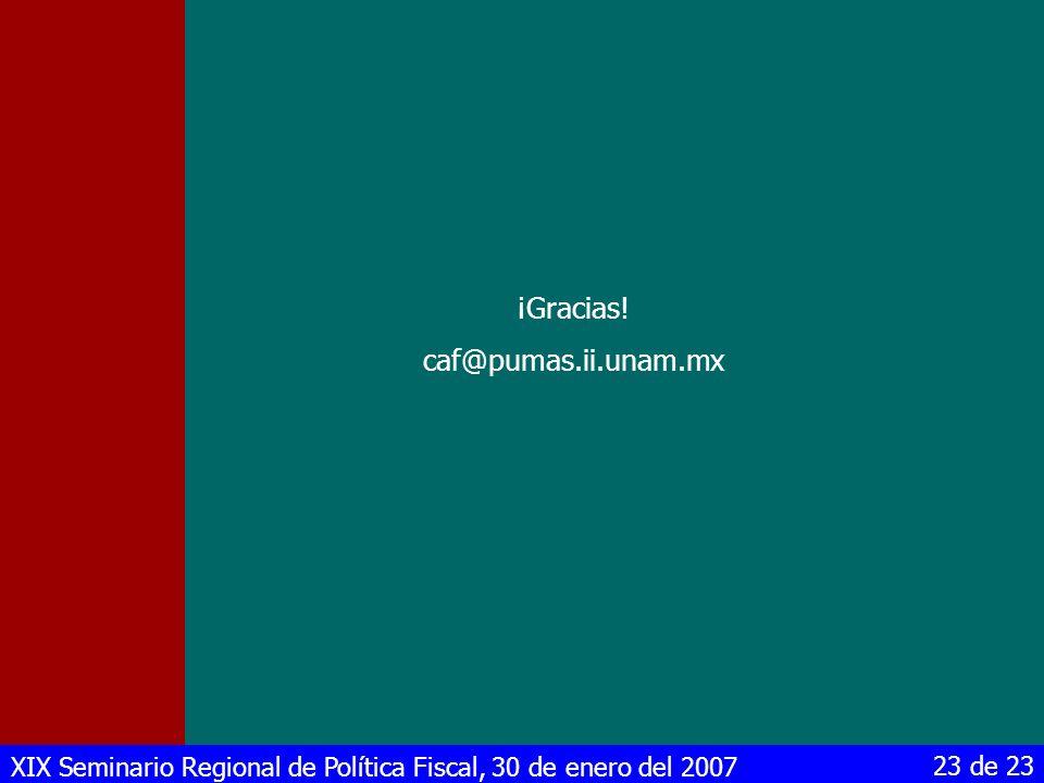 XIX Seminario Regional de Política Fiscal, 30 de enero del 2007 23 de 23 ¡Gracias! caf@pumas.ii.unam.mx