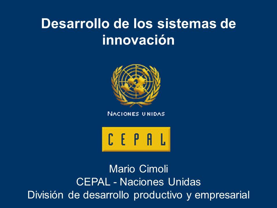 Firmas y sistema productivo Redes con otras firmas y con otras instituciones Políticas dirigidas a mejorar el entorno para la realización de actividades científicas y tecnológicas Sistemas de innovación