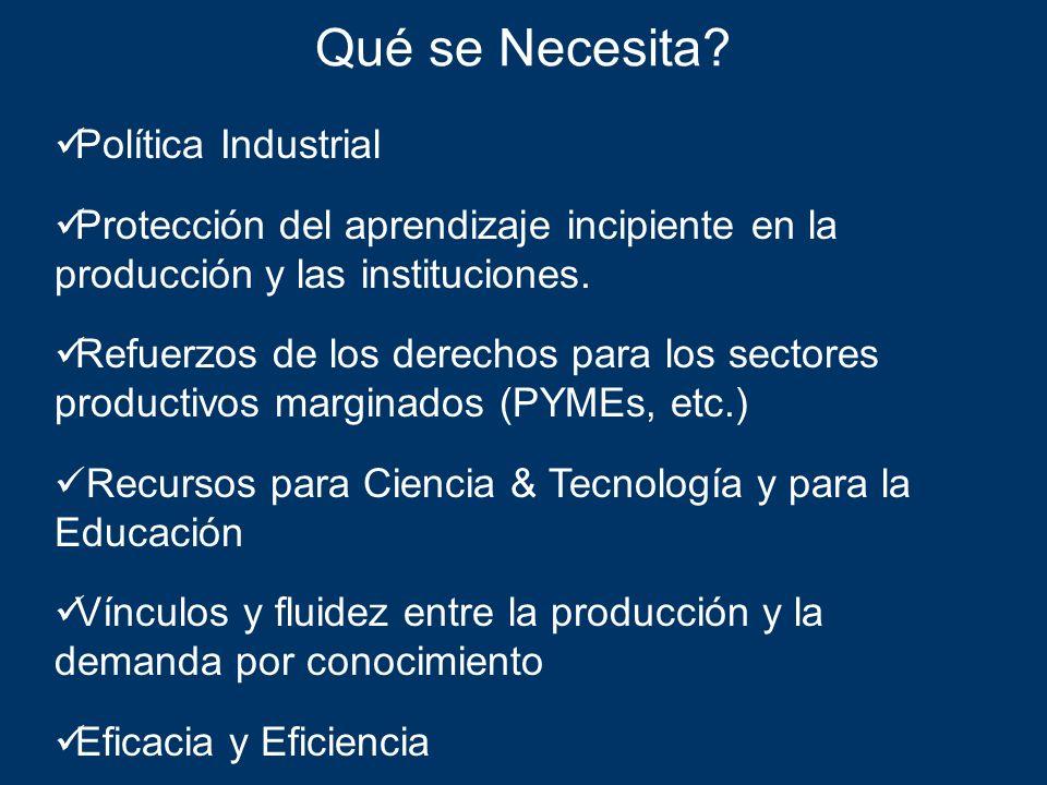 Qué se Necesita? Política Industrial Protección del aprendizaje incipiente en la producción y las instituciones. Refuerzos de los derechos para los se