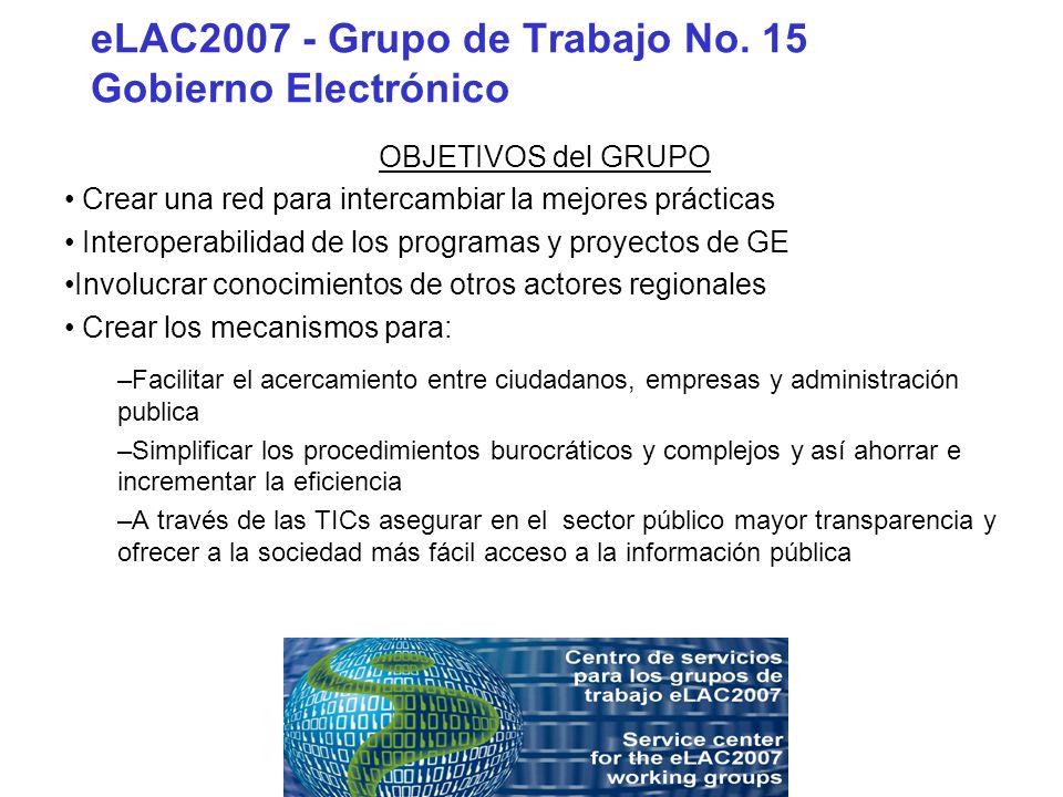 eLAC2007 - Grupo de Trabajo No. 15 Gobierno Electrónico OBJETIVOS del GRUPO Crear una red para intercambiar la mejores prácticas Interoperabilidad de
