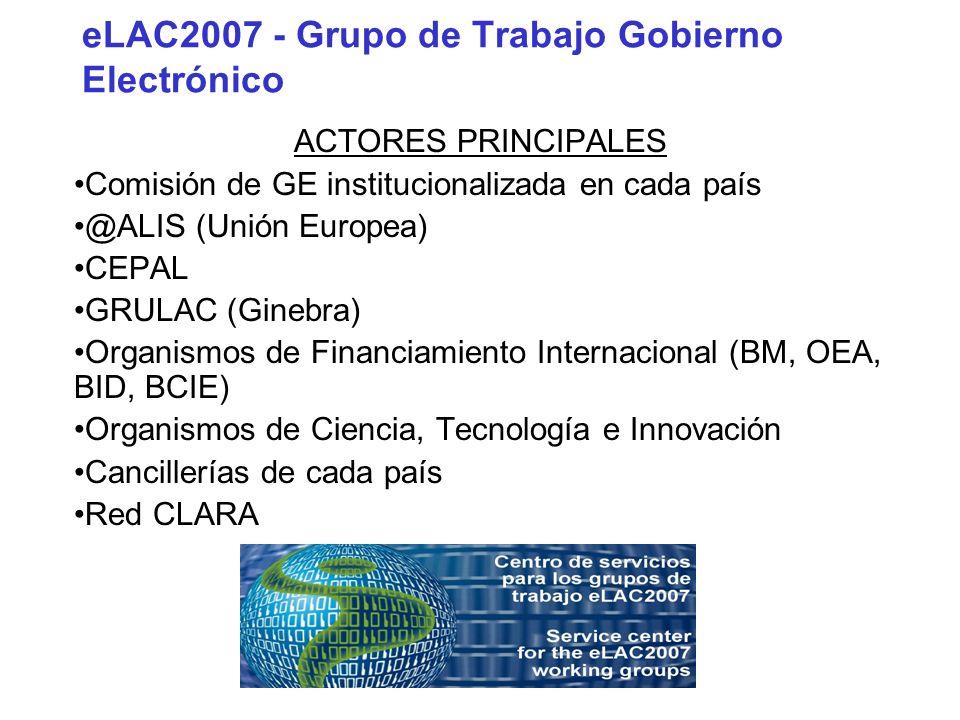 eLAC2007 - Grupo de Trabajo Gobierno Electrónico ACTORES PRINCIPALES Comisión de GE institucionalizada en cada país @ALIS (Unión Europea) CEPAL GRULAC