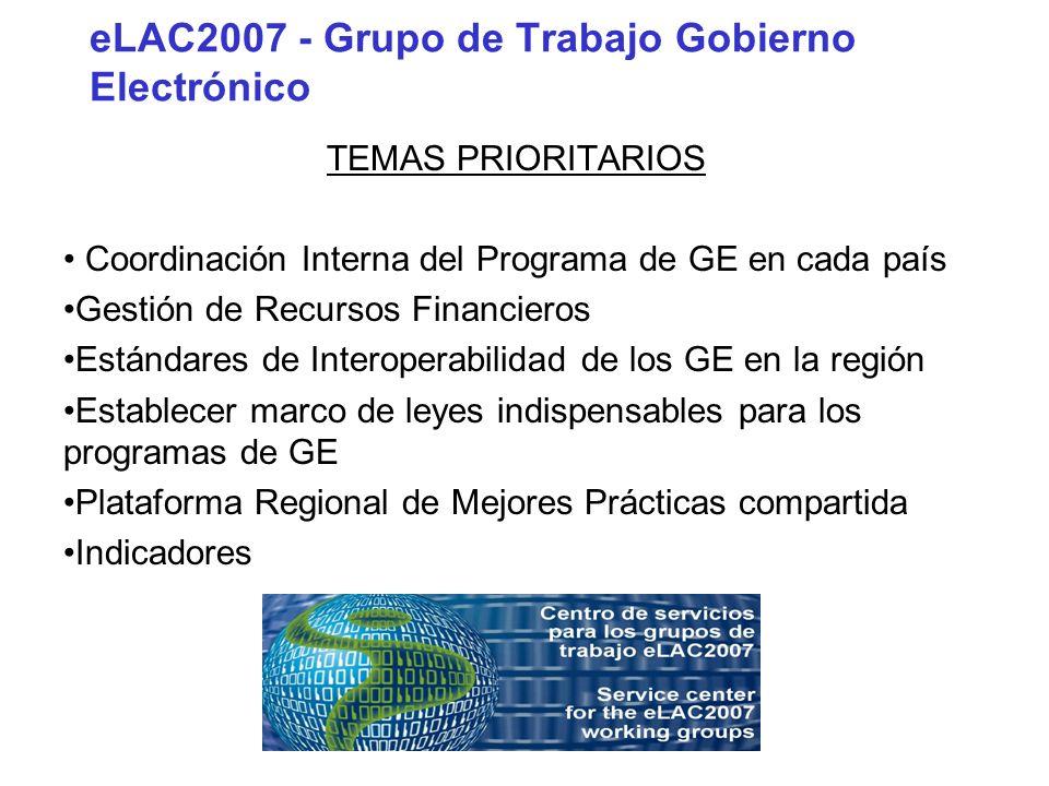 eLAC2007 - Grupo de Trabajo Gobierno Electrónico TEMAS PRIORITARIOS Coordinación Interna del Programa de GE en cada país Gestión de Recursos Financier