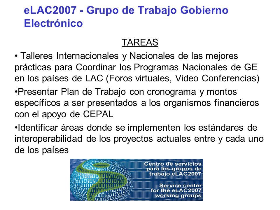 eLAC2007 - Grupo de Trabajo Gobierno Electrónico TAREAS Talleres Internacionales y Nacionales de las mejores prácticas para Coordinar los Programas Na