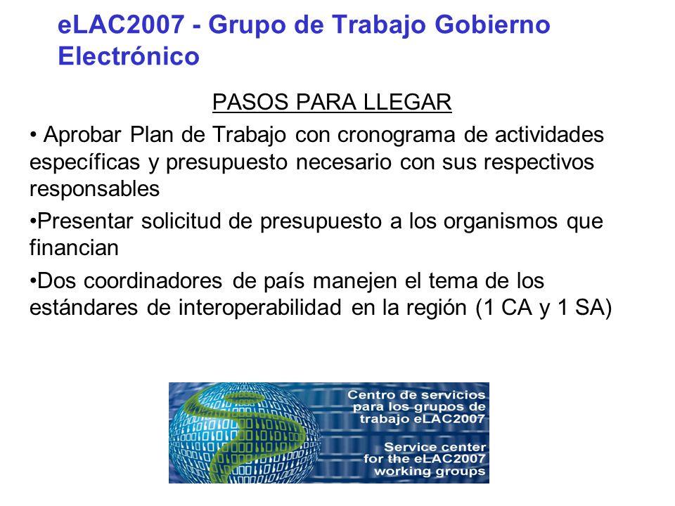 eLAC2007 - Grupo de Trabajo Gobierno Electrónico PASOS PARA LLEGAR Aprobar Plan de Trabajo con cronograma de actividades específicas y presupuesto nec