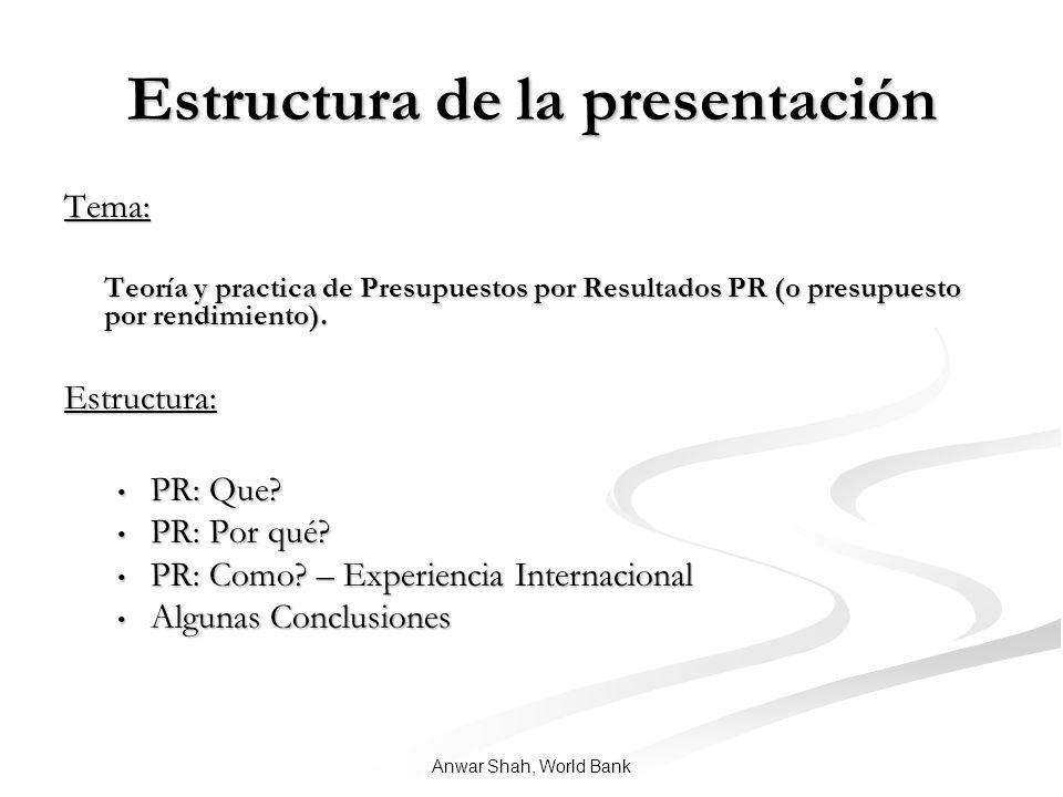 Anwar Shah, World Bank Estructura de la presentación Tema: Teoría y practica de Presupuestos por Resultados PR (o presupuesto por rendimiento).