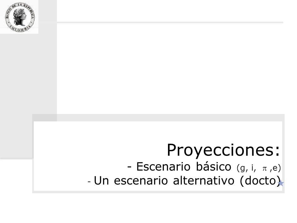 Proyecciones: - Escenario básico (g, i,,e) - Un escenario alternativo (docto)