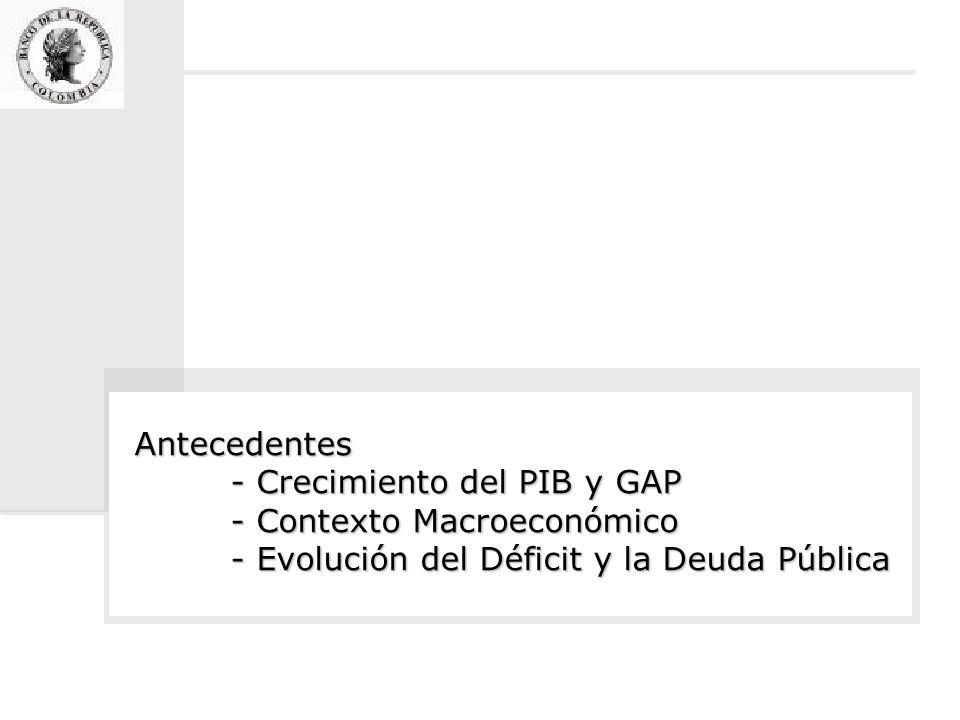 Antecedentes - Crecimiento del PIB y GAP - Contexto Macroeconómico - Evolución del Déficit y la Deuda Pública