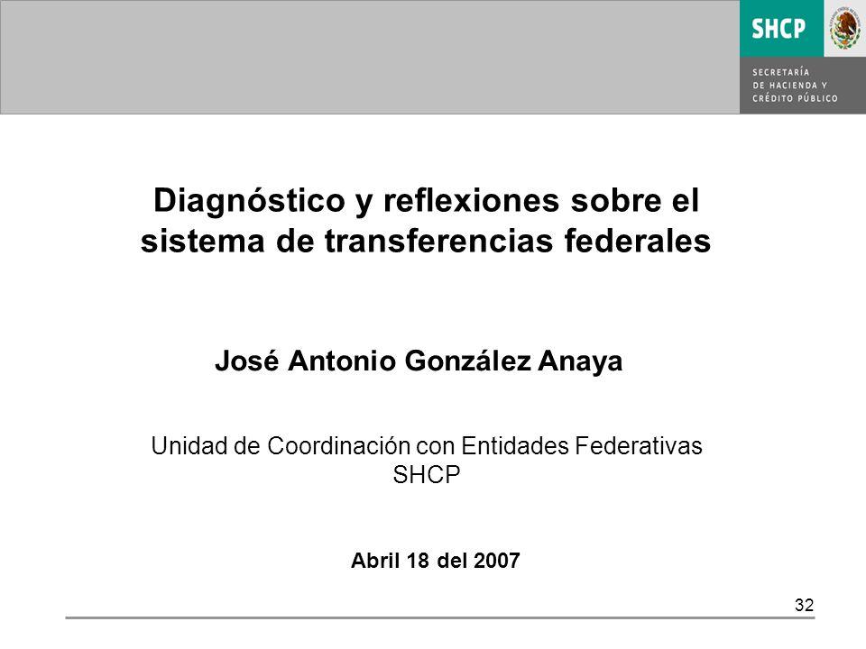 32 Abril 18 del 2007 Diagnóstico y reflexiones sobre el sistema de transferencias federales José Antonio González Anaya Unidad de Coordinación con Entidades Federativas SHCP