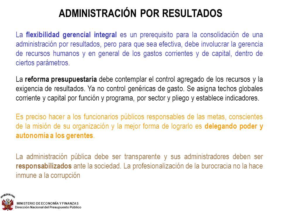 ADMINISTRACIÓN POR RESULTADOS La flexibilidad gerencial integral es un prerequisito para la consolidación de una administración por resultados, pero p