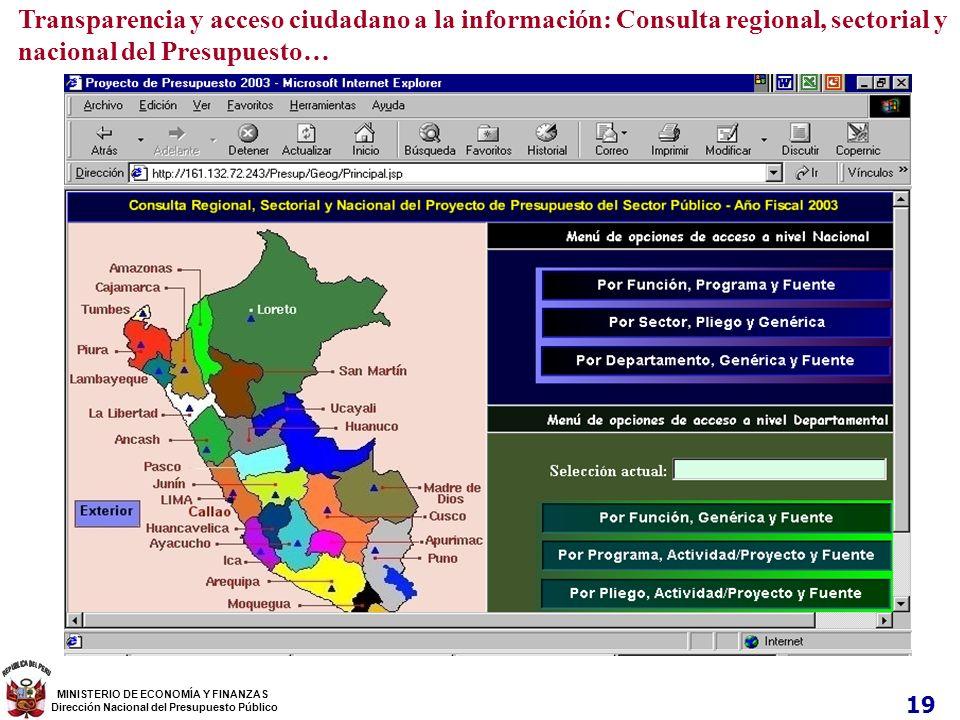 Transparencia y acceso ciudadano a la información: Consulta regional, sectorial y nacional del Presupuesto… 19 MINISTERIO DE ECONOMÍA Y FINANZAS Direc