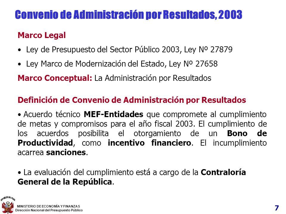 7 MINISTERIO DE ECONOMÍA Y FINANZAS Dirección Nacional del Presupuesto Público Marco Legal Ley de Presupuesto del Sector Público 2003, Ley Nº 27879 Le