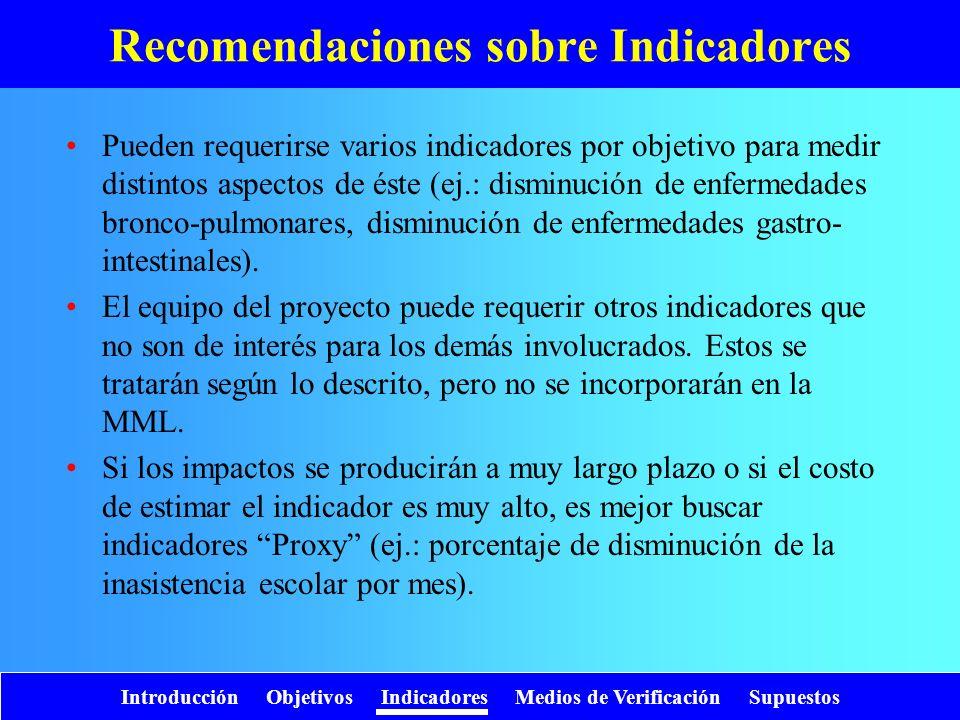 Introducción Objetivos Indicadores Medios de Verificación Supuestos Recomendaciones sobre Indicadores Pueden requerirse varios indicadores por objetiv
