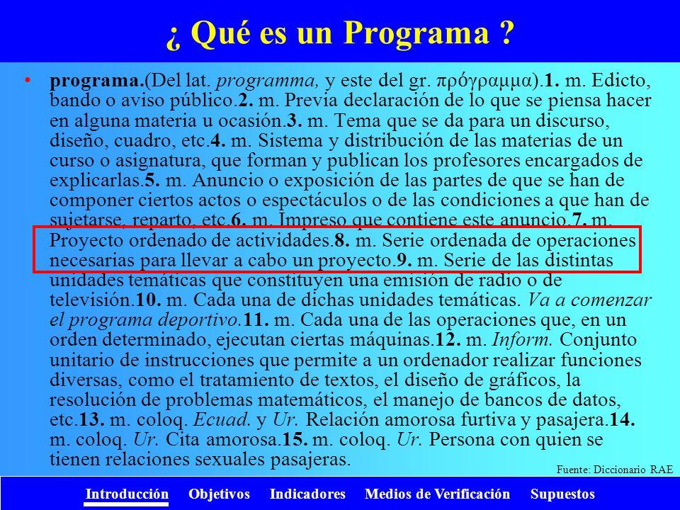 Introducción Objetivos Indicadores Medios de Verificación Supuestos ¿ Qué es un Programa ? programa.(Del lat. programma, y este del gr. πρ γραμμα).1.