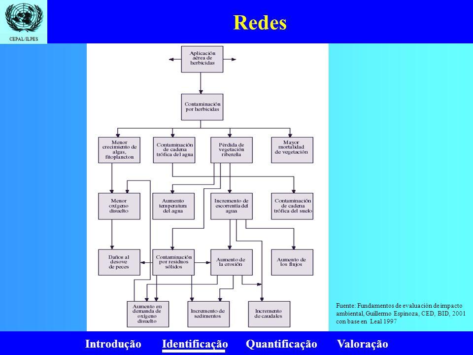 Introdução Identificação Quantificação Valoração CEPAL/ILPES Redes Fuente: Fundamentos de evaluación de impacto ambiental, Guillermo Espinoza, CED, BI