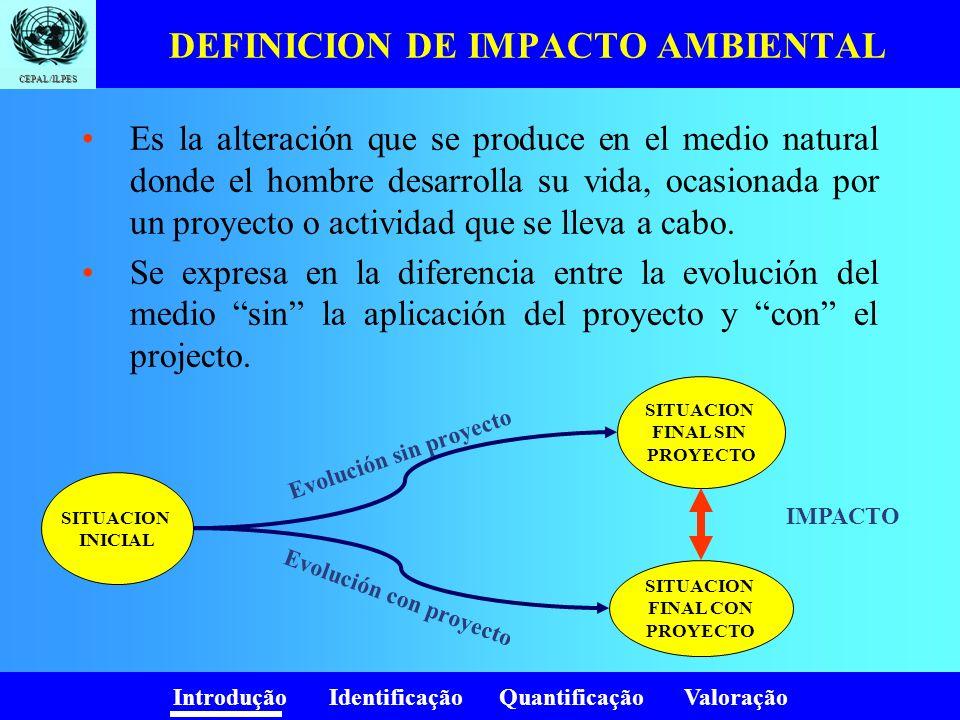 Introdução Identificação Quantificação Valoração CEPAL/ILPES DEFINICION DE IMPACTO AMBIENTAL Es la alteración que se produce en el medio natural donde