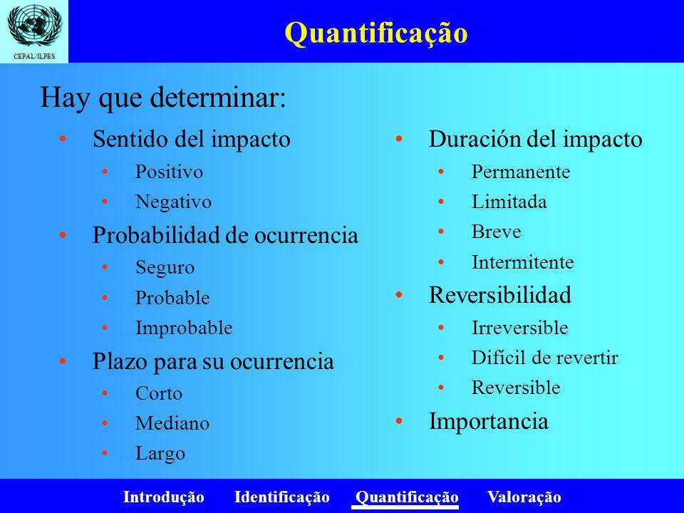 Introdução Identificação Quantificação Valoração CEPAL/ILPES Quantificação Sentido del impacto Positivo Negativo Probabilidad de ocurrencia Seguro Pro