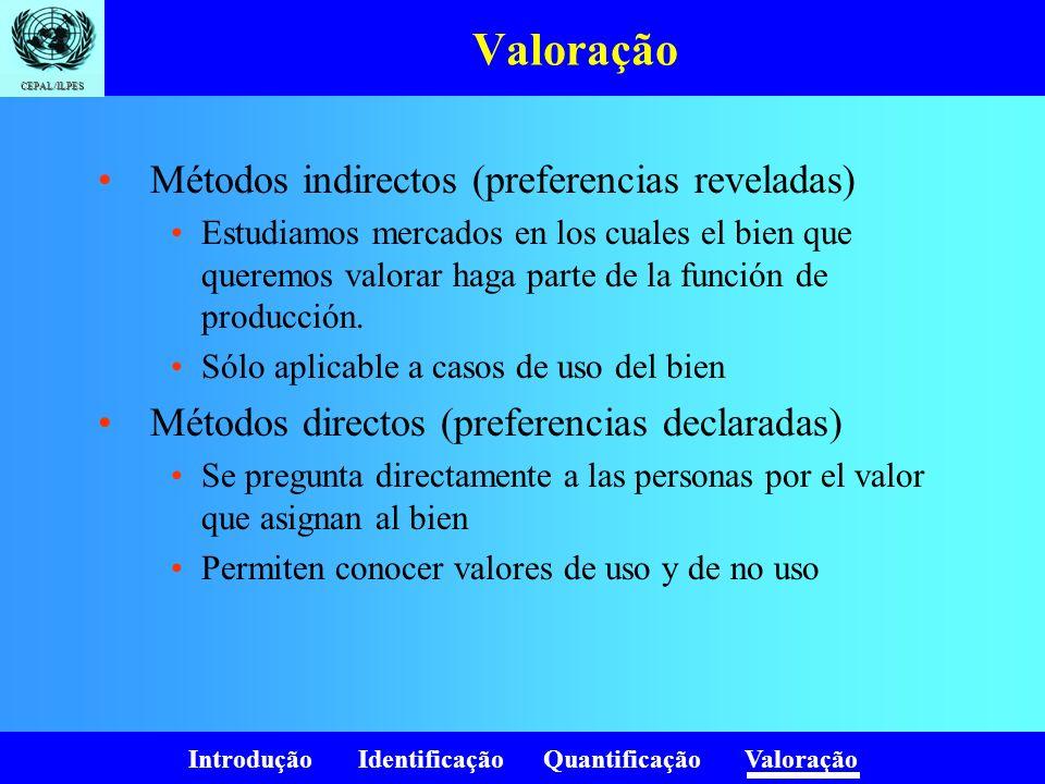 Introdução Identificação Quantificação Valoração CEPAL/ILPES Valoração Métodos indirectos (preferencias reveladas) Estudiamos mercados en los cuales e