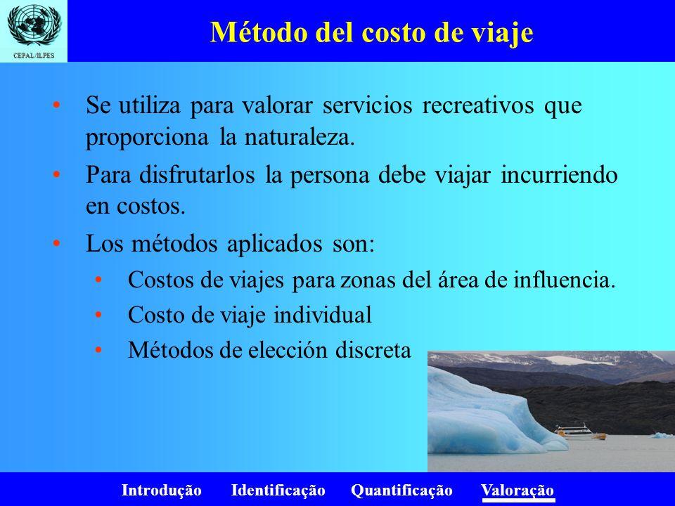 Introdução Identificação Quantificação Valoração CEPAL/ILPES Método del costo de viaje Se utiliza para valorar servicios recreativos que proporciona l