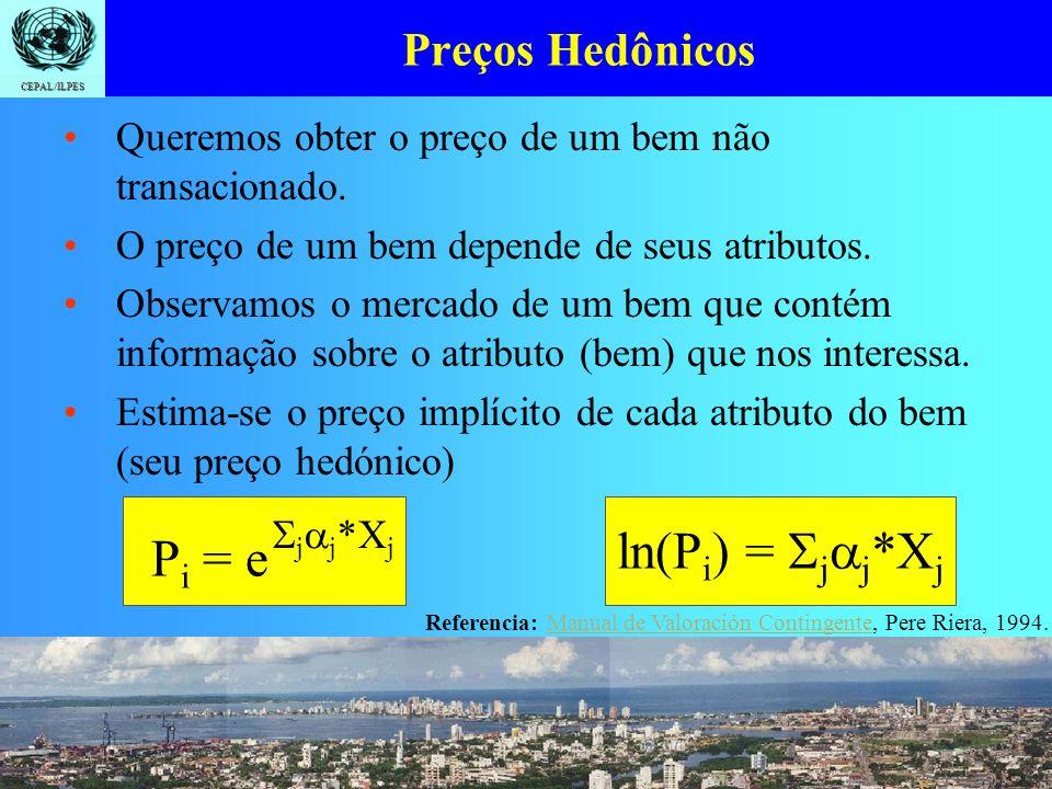 Introdução Identificação Quantificação Valoração CEPAL/ILPES Preços Hedônicos Queremos obter o preço de um bem não transacionado. O preço de um bem de