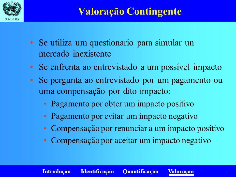 Introdução Identificação Quantificação Valoração CEPAL/ILPES Valoração Contingente Se utiliza um questionario para simular un mercado inexistente Se e