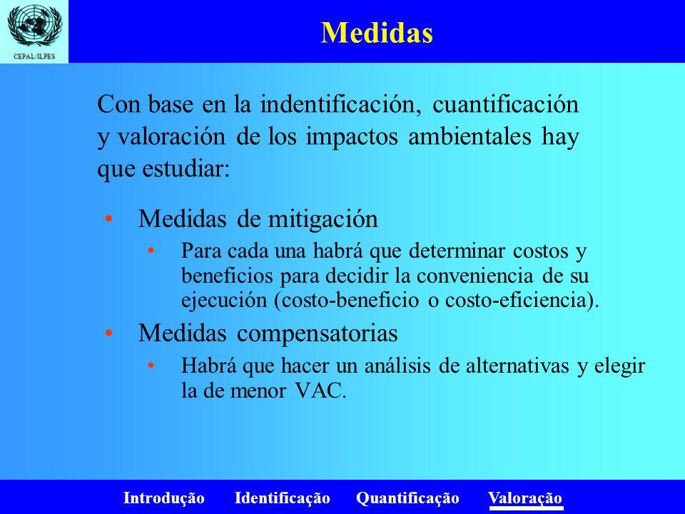 Introdução Identificação Quantificação Valoração CEPAL/ILPES Medidas Medidas de mitigación Para cada una habrá que determinar costos y beneficios para