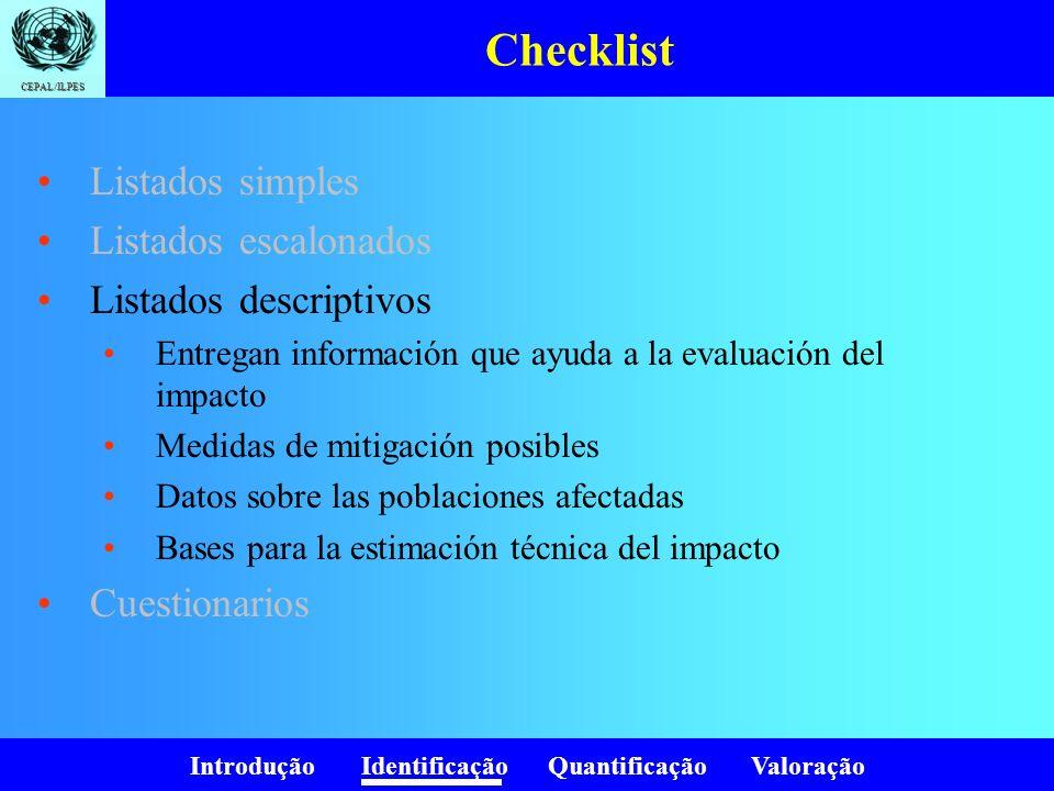 Introdução Identificação Quantificação Valoração CEPAL/ILPES Checklist Listados simples Listados escalonados Listados descriptivos Cuestionarios Fuente: Fundamentos de evaluación de impacto ambiental, Guillermo Espinoza, CED, BID, 2001.