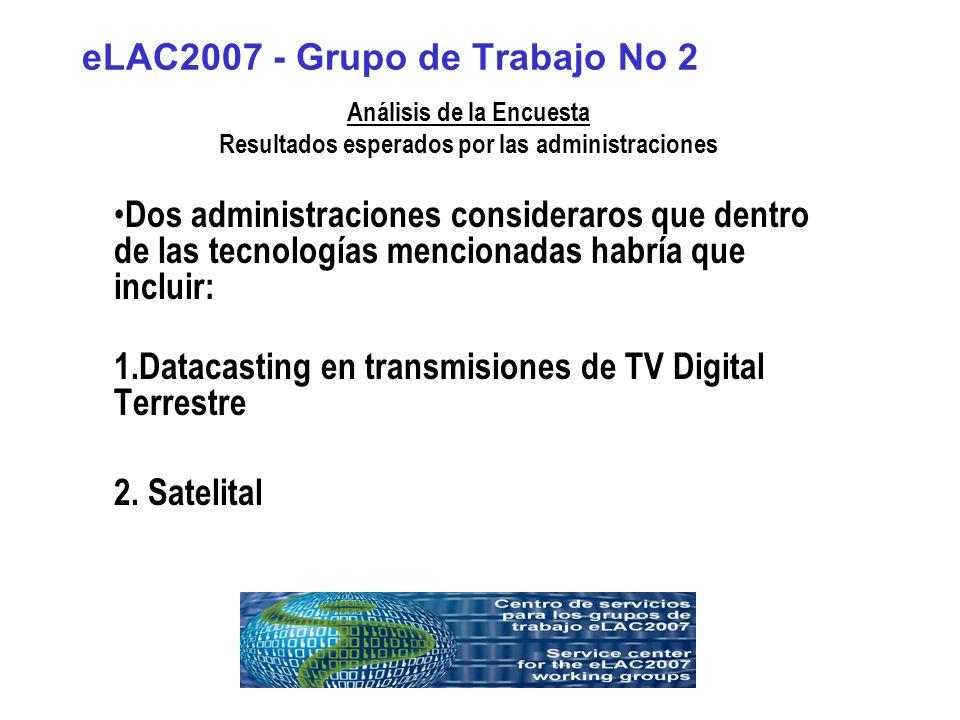 eLAC2007 - Grupo de Trabajo No 2 Análisis de la Encuesta Resultados esperados por las administraciones Dos administraciones consideraros que dentro de