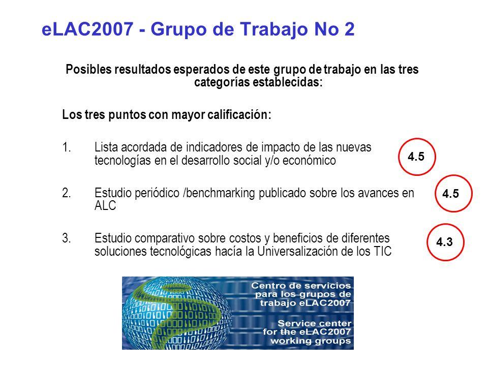 eLAC2007 - Grupo de Trabajo No 2 Posibles resultados esperados de este grupo de trabajo en las tres categorías establecidas: Los tres puntos con mayor calificación: 1.