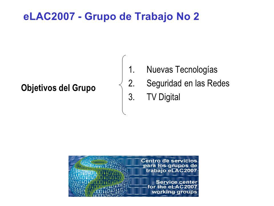 eLAC2007 - Grupo de Trabajo No 2 1.Nuevas Tecnologías Objetivo: Elaborar estrategias, recomendaciones y políticas para que las nuevas tecnologías (NGN, IP e inalámbricas como WiMAX) permitan aumentar la cobertura de los servicios básicos y mejoren las condiciones de conectividad a las redes de la información.
