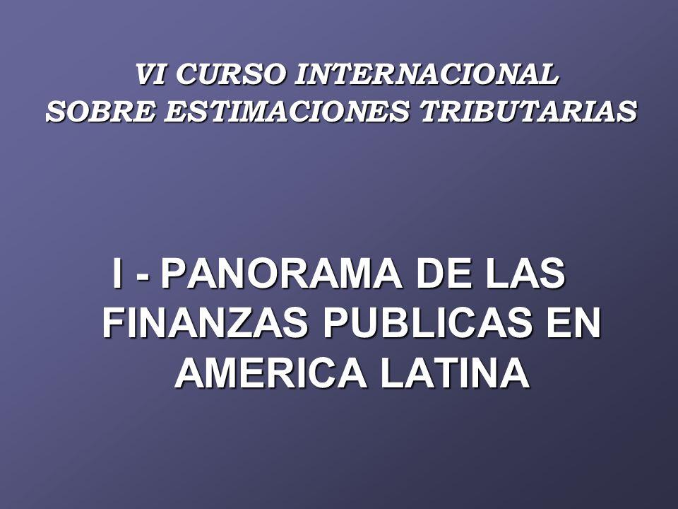 VI CURSO INTERNACIONAL SOBRE ESTIMACIONES TRIBUTARIAS VI CURSO INTERNACIONAL SOBRE ESTIMACIONES TRIBUTARIAS I - PANORAMA DE LAS FINANZAS PUBLICAS EN AMERICA LATINA
