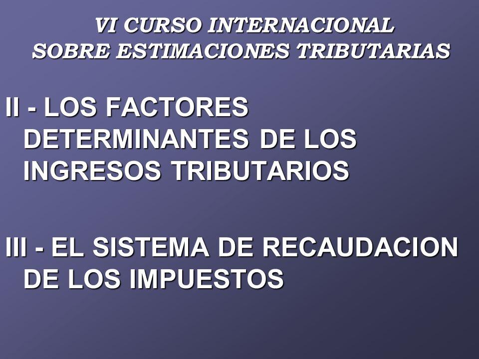 VI CURSO INTERNACIONAL SOBRE ESTIMACIONES TRIBUTARIAS VI CURSO INTERNACIONAL SOBRE ESTIMACIONES TRIBUTARIAS II - LOS FACTORES DETERMINANTES DE LOS INGRESOS TRIBUTARIOS III - EL SISTEMA DE RECAUDACION DE LOS IMPUESTOS