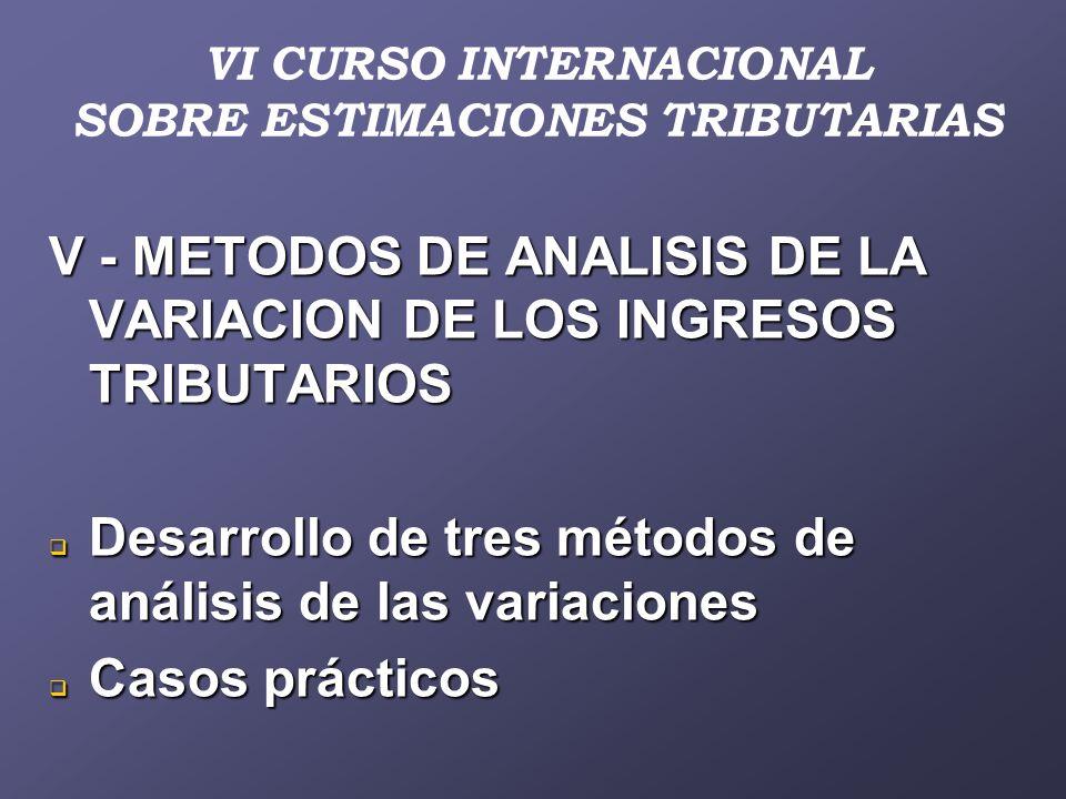 VI CURSO INTERNACIONAL SOBRE ESTIMACIONES TRIBUTARIAS V - METODOS DE ANALISIS DE LA VARIACION DE LOS INGRESOS TRIBUTARIOS Desarrollo de tres métodos de análisis de las variaciones Desarrollo de tres métodos de análisis de las variaciones Casos prácticos Casos prácticos