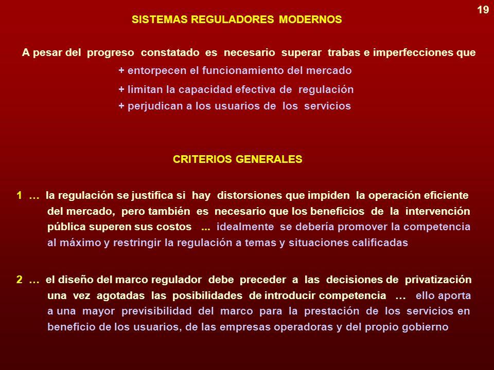 18 Derecho y precio de acceso a las instalaciones Estructura de la industria Opciones de competencia Objeto de la regulación Condición inicial Monopol