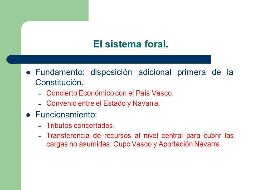 El sistema foral. Fundamento: disposición adicional primera de la Constitución. – Concierto Económico con el País Vasco. – Convenio entre el Estado y