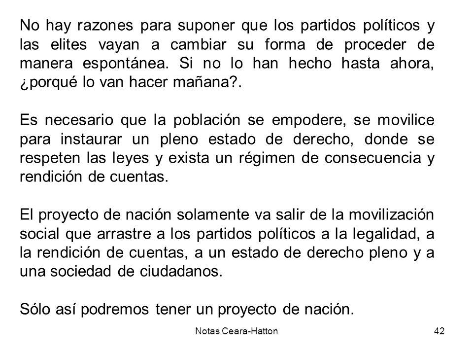 Notas Ceara-Hatton42 No hay razones para suponer que los partidos políticos y las elites vayan a cambiar su forma de proceder de manera espontánea.