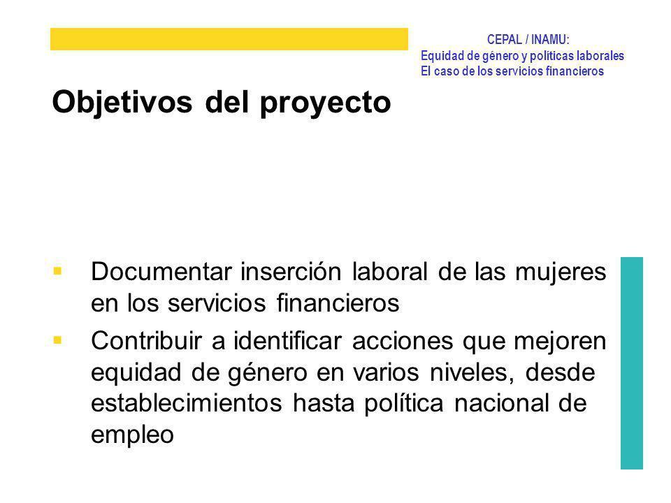 CEPAL / INAMU: Equidad de género y políticas laborales El caso de los servicios financieros Documentar inserción laboral de las mujeres en los servici